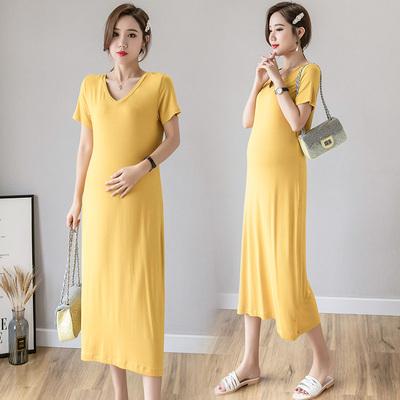 Maternity Clothing Long Fashion Model Cotton Long Skirt Dress