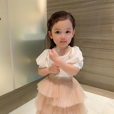 Kids Clothing Small Square Collar Bubble Sleeve T-shirt