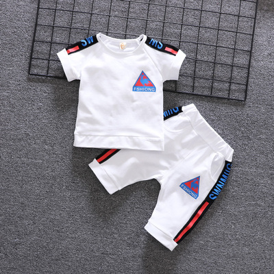 Kids Clothing Pure Cotton Baby Summer Short-sleeved Suit