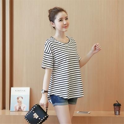 Maternity Clothing Summer Coat Short-sleeved Cotton Striped Shirt