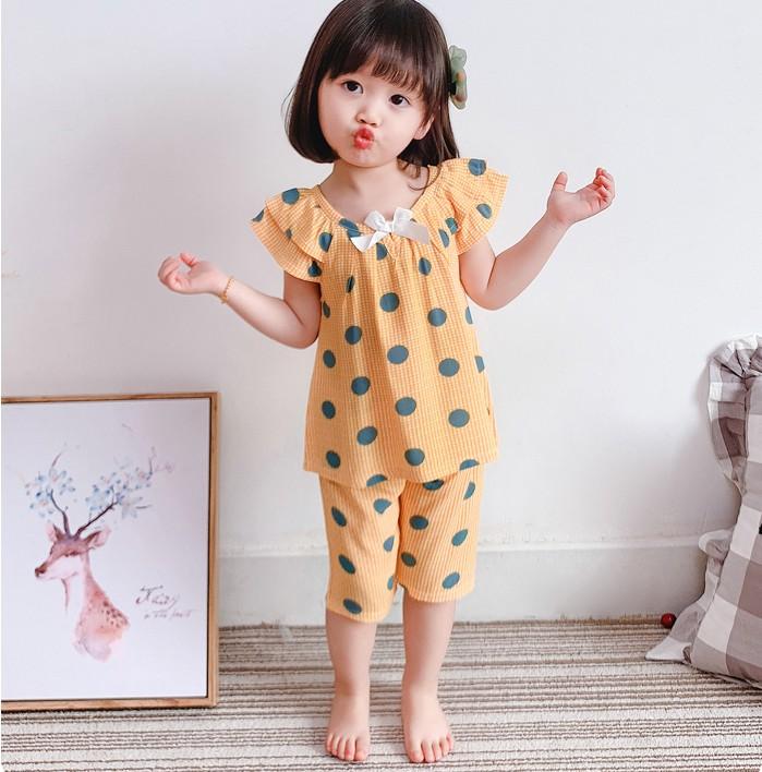 Kids Clothing Summer Pajamas Short-sleeved Cotton Silk Sleepwear