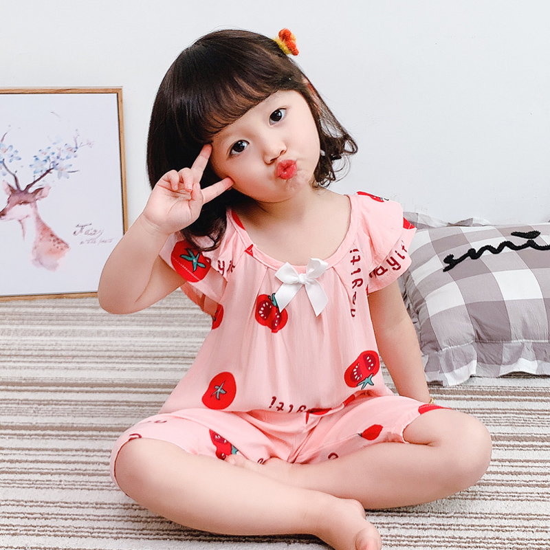 Kids Clothing Summer Pajamas Short-sleeved Cotton Silk Sleepwear