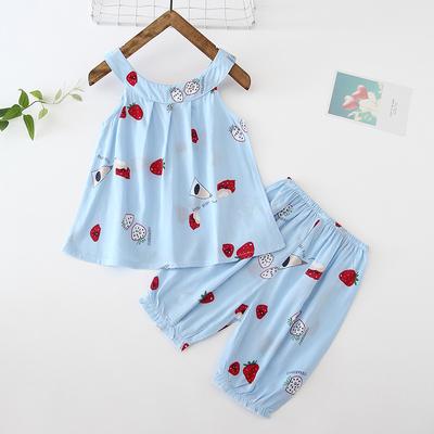Kids Clothing Baby Cotton Silk Night Skirt Cotton Pajamas Set