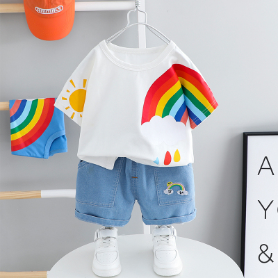 Kids Clothing Summer Two-piece Rainbow Suit