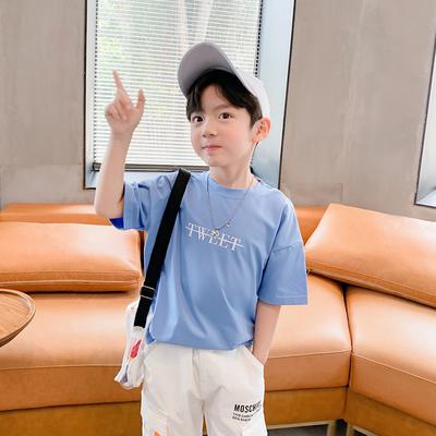 Kids Clothing Short-sleeved Summer Round Neck Shirt