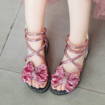 Kids Breathable Casual Roman Style Big Bow Sandals