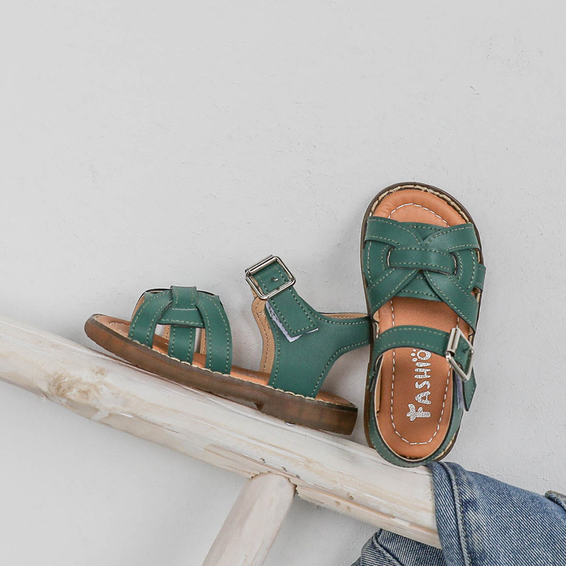 Kids Sweet Soft Bottom Retro Fashion Casual Solid Color Sandals
