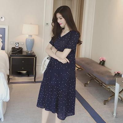 Maternity Clothing Long-sleeved Summer Knee-length Chiffon Dress