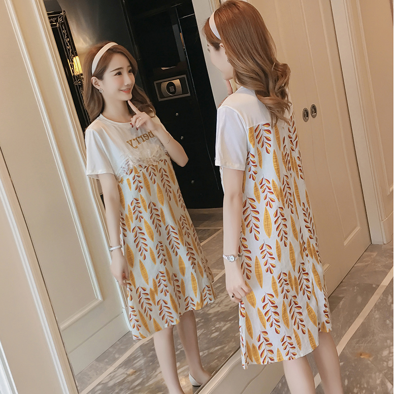 Maternity Clothing Pregnant Embroidered Fake Two Piece Breastfeeding Night Dress