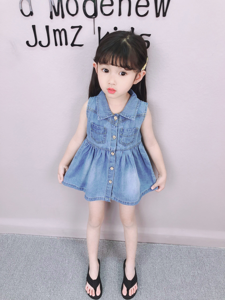 Kids Clothing Foreign Denim Princess Skirt Sleeveless Vest Dress