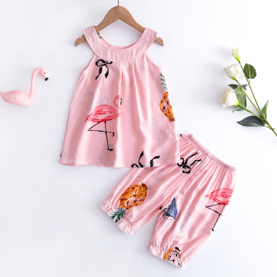 Kids Clothing Baby Cotton Silk Night Skirt Cotton Pajamas Set