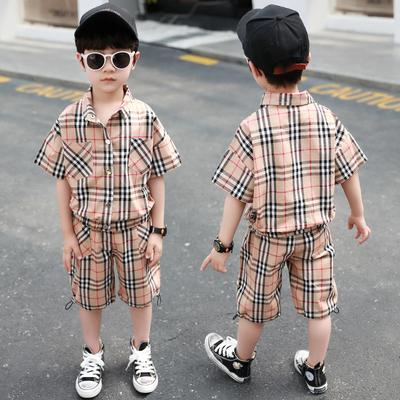 Kids Clothing Boys Summer Plaid Shirt Short-sleeved Two-piece Set