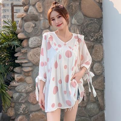 Maternity Clothing Summer Short-sleeved Polka Dot Shirt