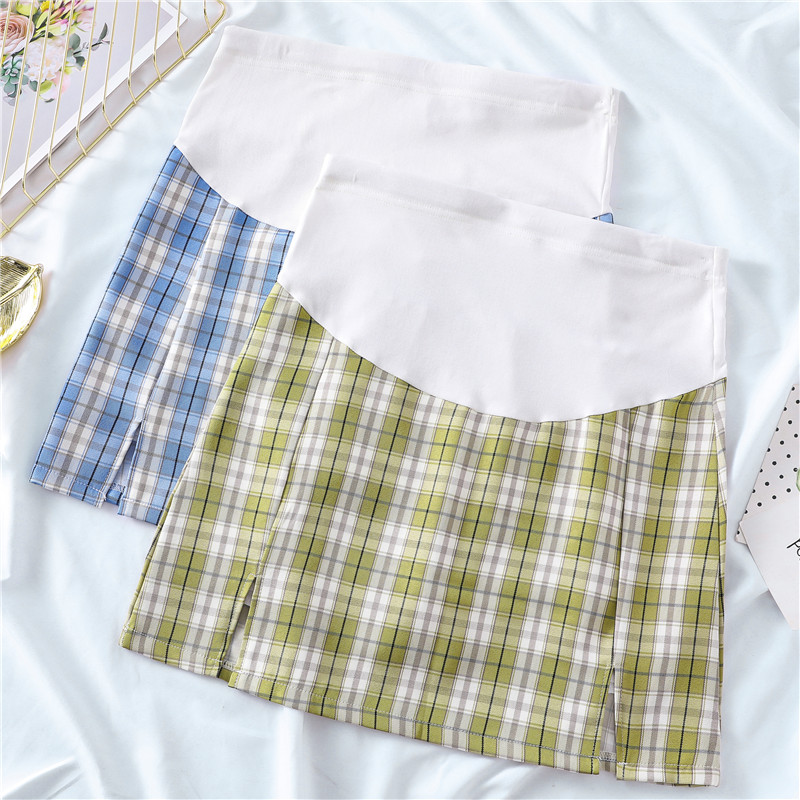 Maternity Clothing Lattice Pregnant Belly Support A-line Skirt