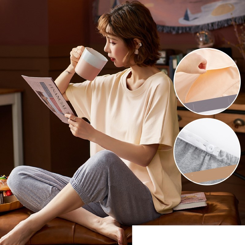 Maternity Clothing Pure Cotton Short-sleeved Breastfeeding Pajama Suits
