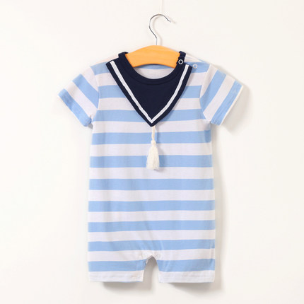 Baby Clothing Cotton Newborn Short Sleeve Striped Climbing Suit