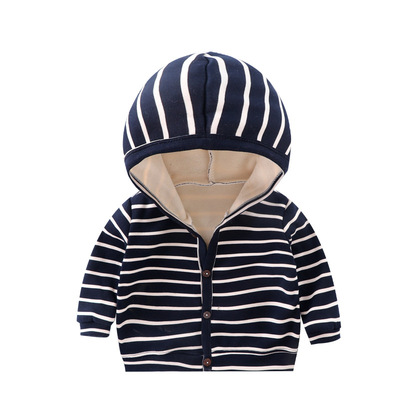 Baby Clothing Hooded Casual Warm Striped Sweater