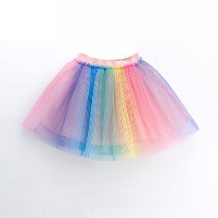 Kids Clothing Rainbow Mesh Short Skirt
