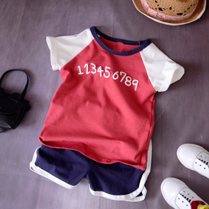 Kids Clothing Short-sleeved Two-piece Casual Set