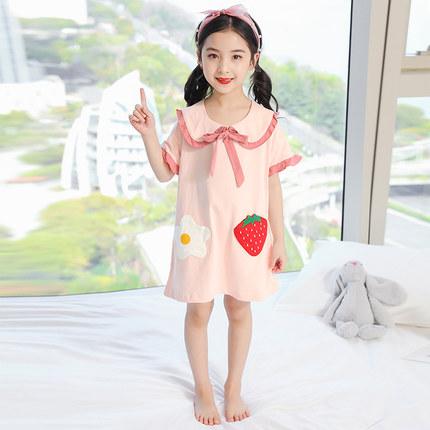 Kids Clothing Strawberry Cotton Princess Pajama Nightdress