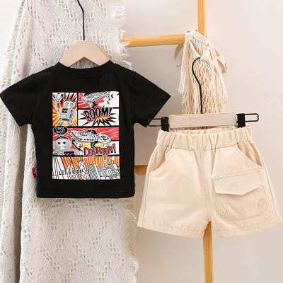 Kids Clothing Short-sleeved Casual Outdoor Two-piece Suit