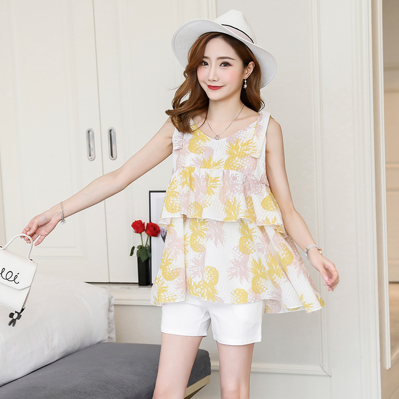 Maternity Clothing Comfortable Mid-length Floral Shirt