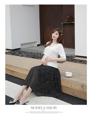 Maternity Clothing Long Chiffon Belly Wide Leg Pleated Skirt