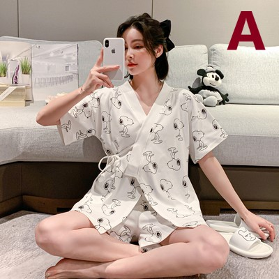 Maternity Clothing Summer Cotton Japanese-style Kimono Pajamas Breastfeeding Suit