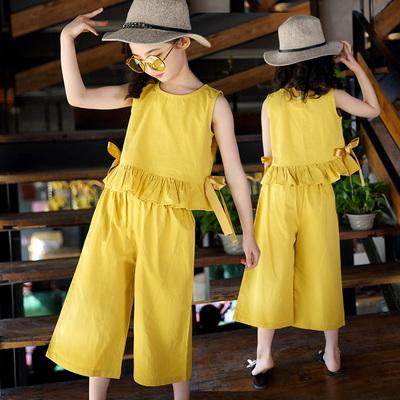 Kids Clothing Summer Wide-leg Pants Fashion Two-piece Suit