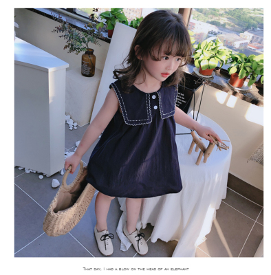 Kids Clothing Baby Loose Solid Color Cute Lapel Skirt