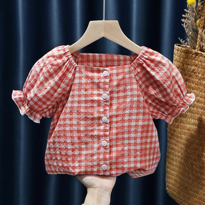 Kids Clothing Baby Plaid Short-sleeved Doll Shirt