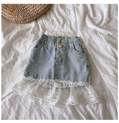 Kids Clothing Sweet Lace Denim Trend Skirt
