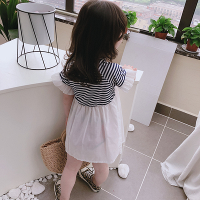 Kids Clothing Loose Lace Short-sleeved Skirt Striped Round Neck Dress