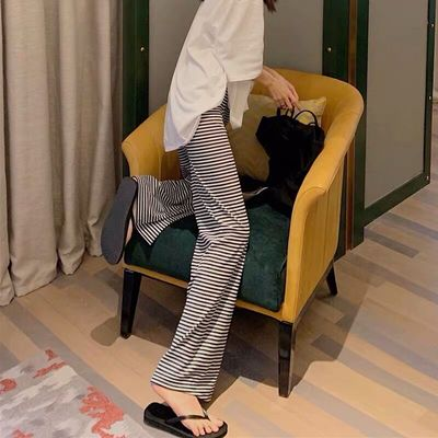 Maternity Clothing Loose Fitting Wide-Leg Striped Trousers