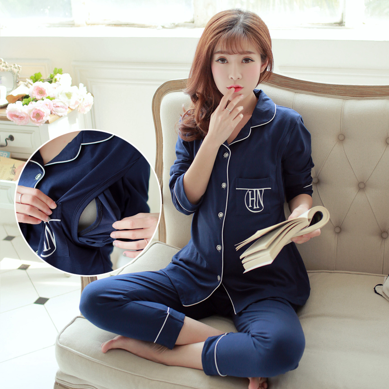 Women NS Collar Breast Feeding Nursing Pajamas Maternity Sleepwear