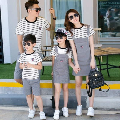 Parent-child Clothing Matching Striped T-shirt Two-piece Set