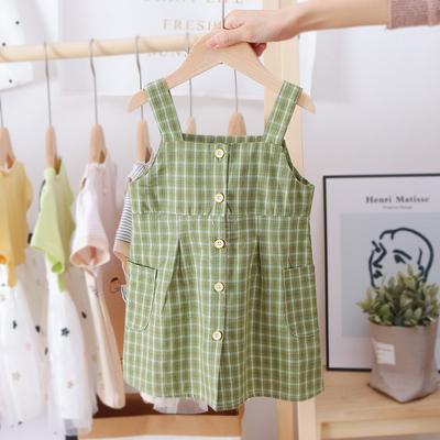 Kids Clothing Plaid Suspender Skirt Baby Sleeveless Vest