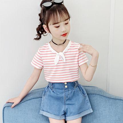 Kids Clothing Summer Half-sleeved Summer Loose Striped Shirt