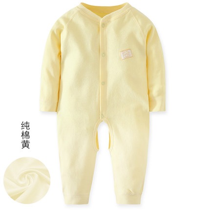 Baby Basic Color Long Sleeve Cotton Jumpsuit Rompers Bodysuit