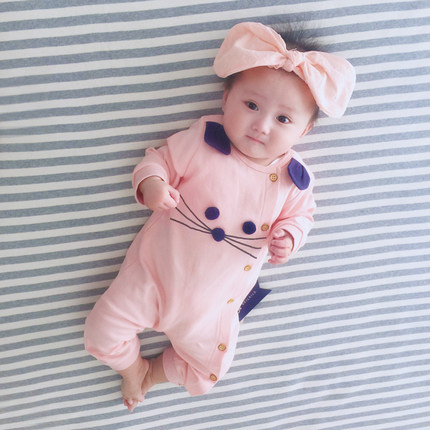 Baby Cute Mouse Long Sleeve Cotton Jumpsuit Rompers Bodysuit