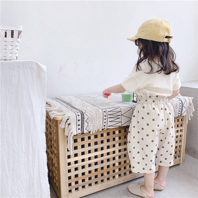 Kids Clothing Fashionable Casual Wide-leg Polka Dot Pants