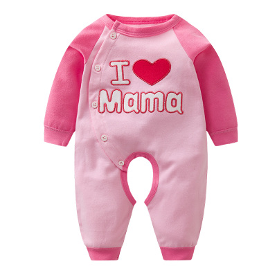 Baby I Love Mama Papa Long Sleeve Cotton Jumpsuit Rompers Bodysuit