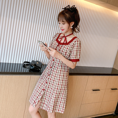 Maternity Clothing Fashion Style Outing Slim-fitting Lattice Nursing Dress