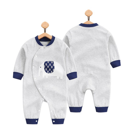 Baby Grey Elephant Long Sleeve Cotton Jumpsuit Rompers Bodysuit