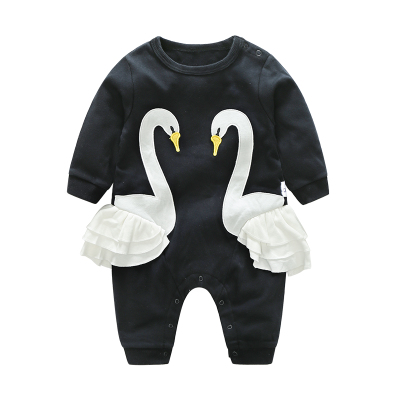 Baby Black Swam Cotton Jumpsuit Rompers Bodysuit