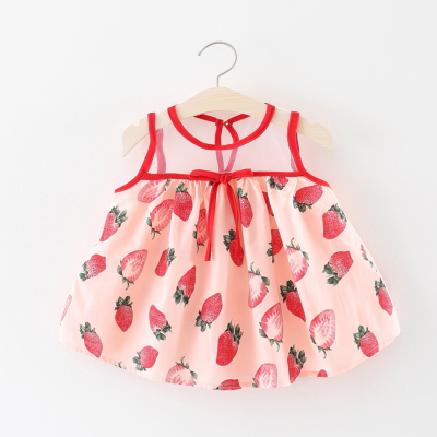 Baby Girl Cute Strawberry Sleeveless  Dress Cotton Jumpsuit Rompers Bodysuit