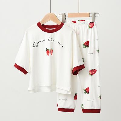 Parent-child Clothing Cotton Round Neck Short-sleeved Pajamas Suit