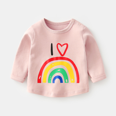 Baby Girl Pink Rainbow Cute Round Neck Long Sleeve T-Shirt Tops
