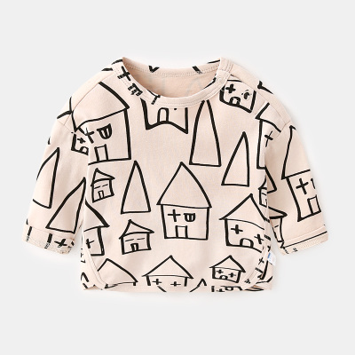 Baby Girl Boy Beige Cute House Graphic Long Sleeve T-Shirt Tops