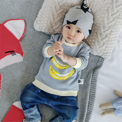 Baby Boy Girl Cute Fruits Stripes Round Neck Long Sleeve T-Shirt Tops